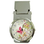 Floral Pattern Background Money Clip Watches Front