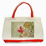 Floral Pattern Background Classic Tote Bag (Red) Front