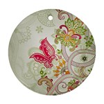 Floral Pattern Background Round Ornament (Two Sides)  Back