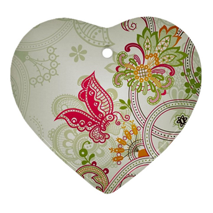Floral Pattern Background Heart Ornament (2 Sides)