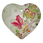 Floral Pattern Background Heart Ornament (2 Sides) Back