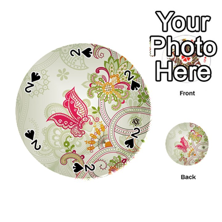 Floral Pattern Background Playing Cards 54 (Round)