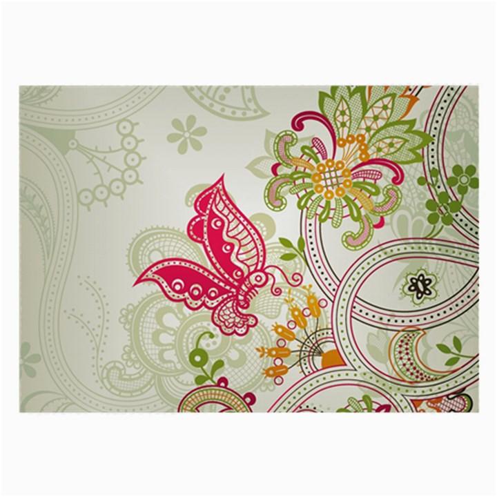 Floral Pattern Background Large Glasses Cloth (2-Side)