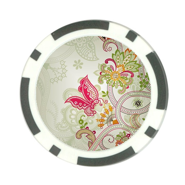 Floral Pattern Background Poker Chip Card Guards