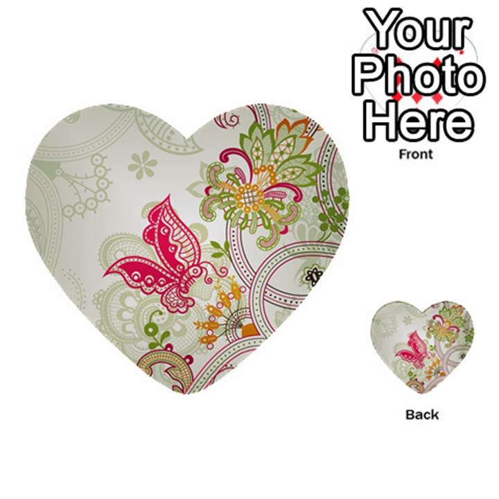 Floral Pattern Background Multi-purpose Cards (Heart)
