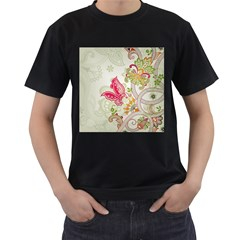 Floral Pattern Background Men s T-Shirt (Black)