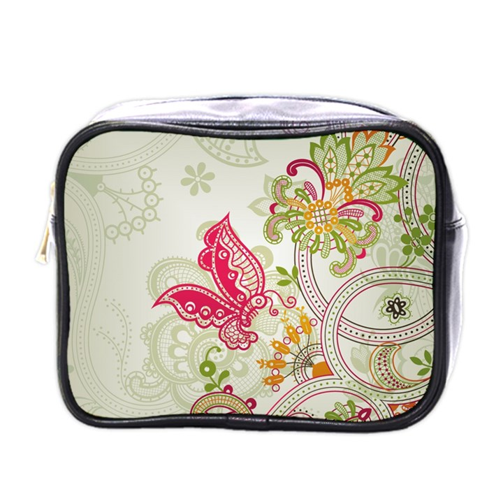 Floral Pattern Background Mini Toiletries Bags
