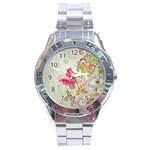 Floral Pattern Background Stainless Steel Analogue Watch Front