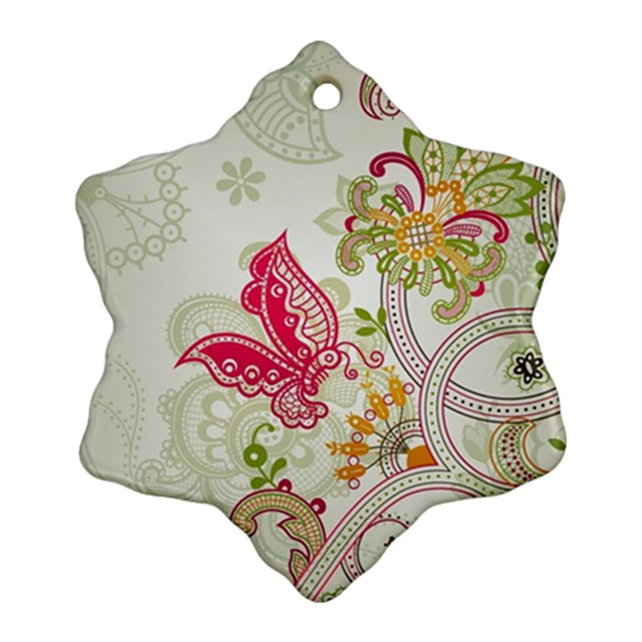 Floral Pattern Background Snowflake Ornament (2-Side)