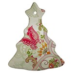 Floral Pattern Background Christmas Tree Ornament (2 Sides) Front
