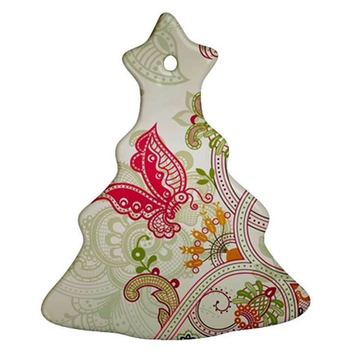 Floral Pattern Background Christmas Tree Ornament (2 Sides)