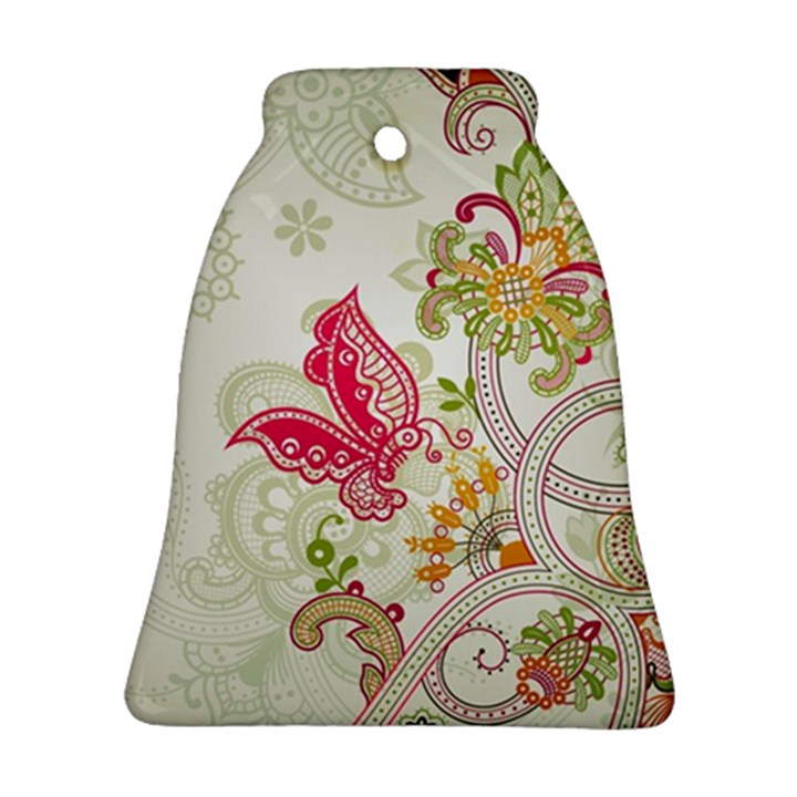 Floral Pattern Background Bell Ornament (2 Sides)