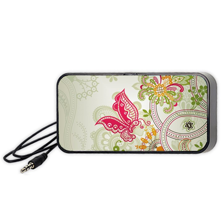 Floral Pattern Background Portable Speaker (Black)