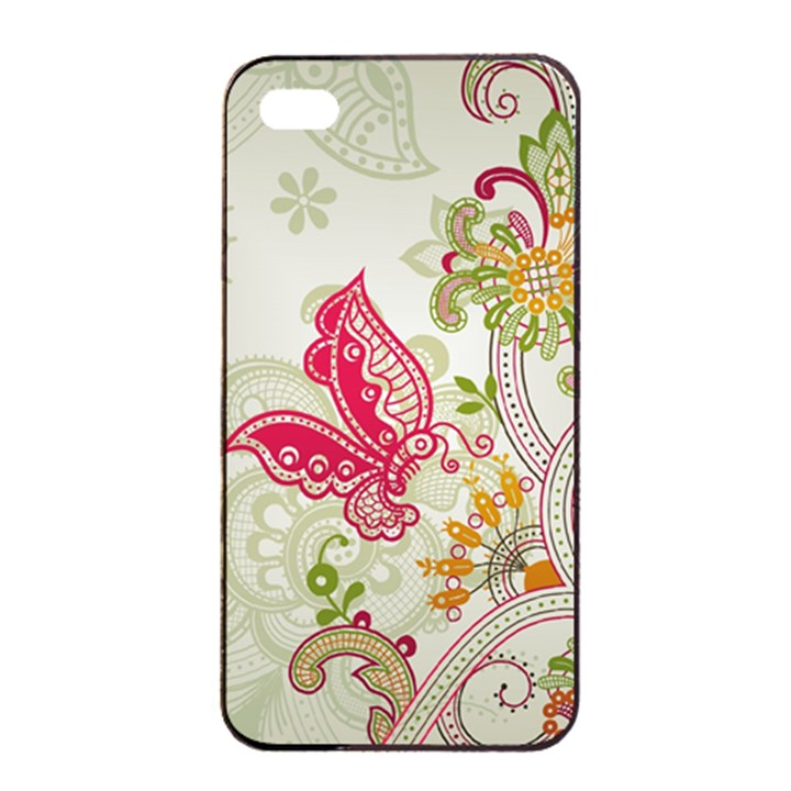 Floral Pattern Background Apple iPhone 4/4s Seamless Case (Black)
