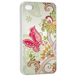Floral Pattern Background Apple iPhone 4/4s Seamless Case (White) Front
