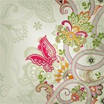 Floral Pattern Background Happy Birthday 3D Greeting Card (8x4) Inside