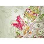 Floral Pattern Background LOVE Bottom 3D Greeting Card (7x5) Back