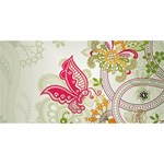 Floral Pattern Background Laugh Live Love 3D Greeting Card (8x4) Back