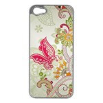 Floral Pattern Background Apple iPhone 5 Case (Silver) Front