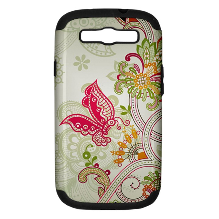 Floral Pattern Background Samsung Galaxy S III Hardshell Case (PC+Silicone)