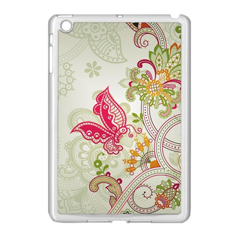 Floral Pattern Background Apple iPad Mini Case (White)