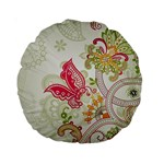 Floral Pattern Background Standard 15  Premium Round Cushions Front