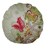 Floral Pattern Background Large 18  Premium Round Cushions Back