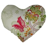 Floral Pattern Background Large 19  Premium Heart Shape Cushions Back