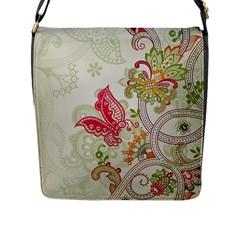 Floral Pattern Background Flap Messenger Bag (L)