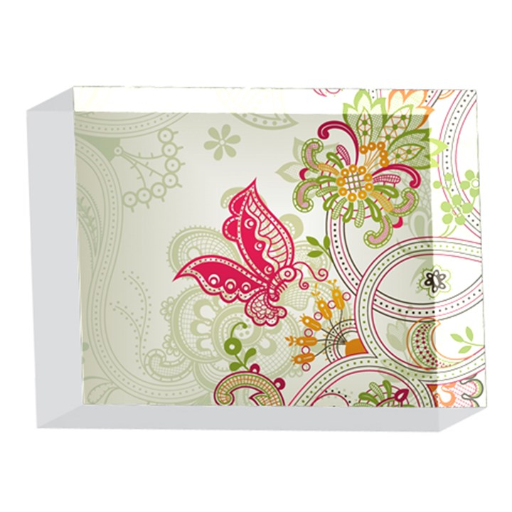 Floral Pattern Background 5 x 7  Acrylic Photo Blocks