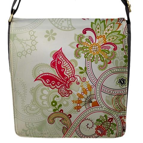 Floral Pattern Background Flap Messenger Bag (S)