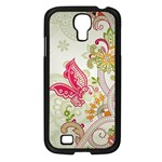 Floral Pattern Background Samsung Galaxy S4 I9500/ I9505 Case (Black) Front