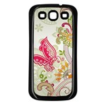 Floral Pattern Background Samsung Galaxy S3 Back Case (Black) Front