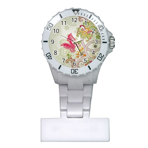 Floral Pattern Background Plastic Nurses Watch
