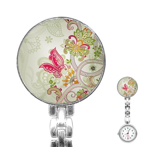 Floral Pattern Background Stainless Steel Nurses Watch
