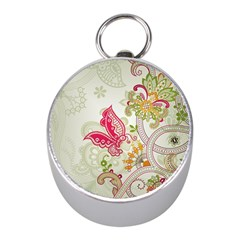 Floral Pattern Background Mini Silver Compasses