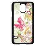 Floral Pattern Background Samsung Galaxy S5 Case (Black) Front
