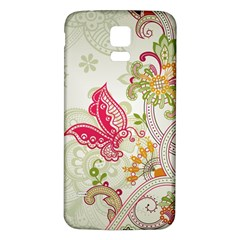 Floral Pattern Background Samsung Galaxy S5 Back Case (White)