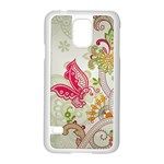 Floral Pattern Background Samsung Galaxy S5 Case (White) Front