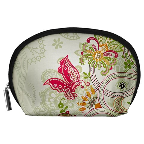 Floral Pattern Background Accessory Pouches (Large)