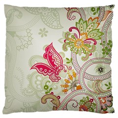 Floral Pattern Background Large Flano Cushion Case (One Side)