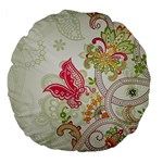 Floral Pattern Background Large 18  Premium Flano Round Cushions Back