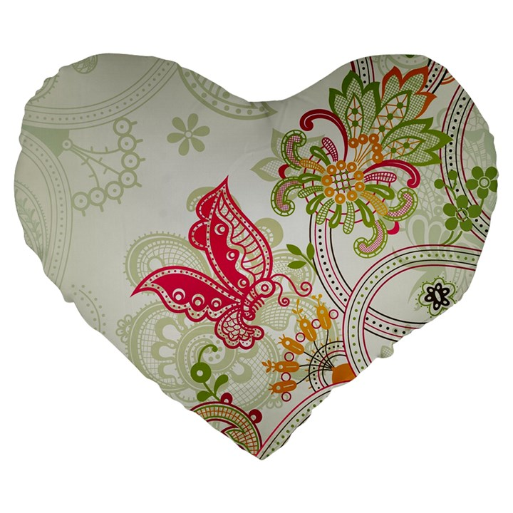 Floral Pattern Background Large 19  Premium Flano Heart Shape Cushions