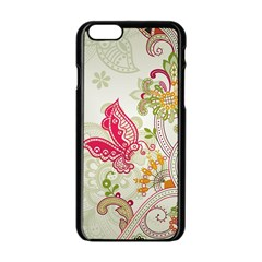 Floral Pattern Background Apple iPhone 6/6S Black Enamel Case
