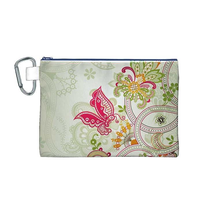 Floral Pattern Background Canvas Cosmetic Bag (M)