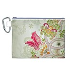 Floral Pattern Background Canvas Cosmetic Bag (L) Front