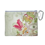Floral Pattern Background Canvas Cosmetic Bag (L) Back