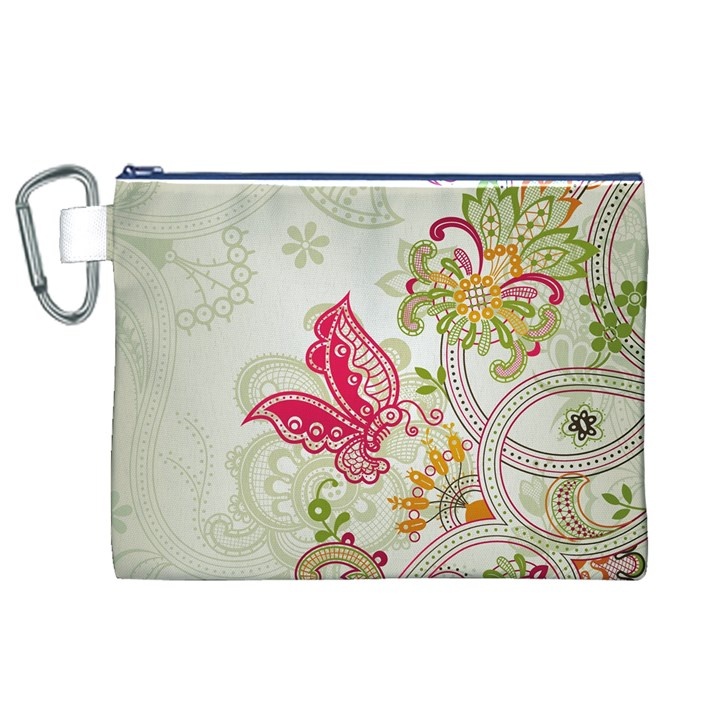 Floral Pattern Background Canvas Cosmetic Bag (XL)