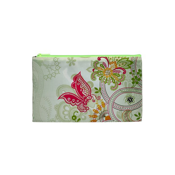 Floral Pattern Background Cosmetic Bag (XS)