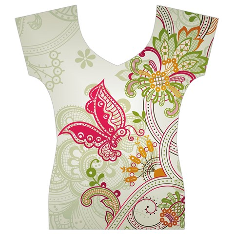 Floral Pattern Background Women s V-Neck Cap Sleeve Top